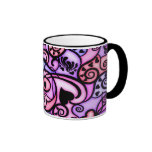 Heart Beats Singing, Stained Glass style Ringer Coffee Mug