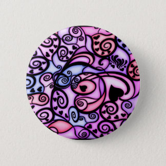 Heart Beats Singing, Stained Glass style Pinback Button