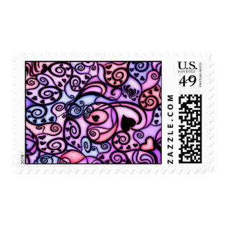 Heart Beats Singing, Stained Glass style Postage Stamps