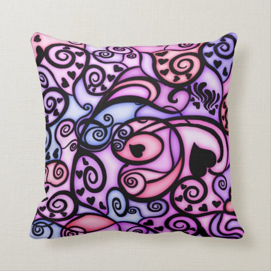 Heart Beats Singing, Stained Glass style Throw Pillow