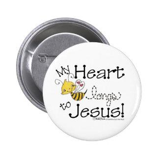 Heart Bee longs to Jesus Pinback Button