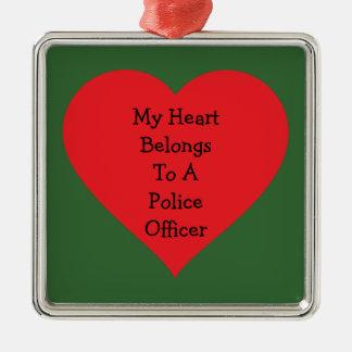 Heart Belongs 2 Cop (customizable) Metal Ornament