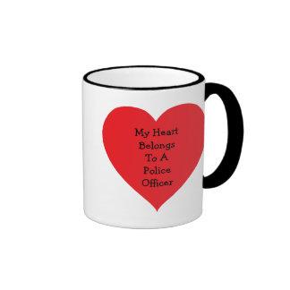 Heart Belongs 2 Cop (customizable) Ringer Coffee Mug