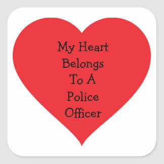 Heart Belongs 2 Cop (customizable) Square Sticker