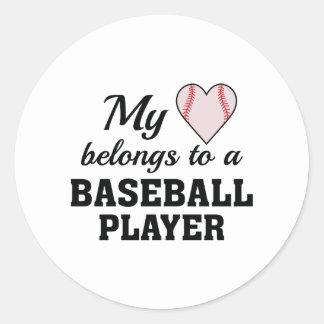 Heart Belongs Baseball Classic Round Sticker