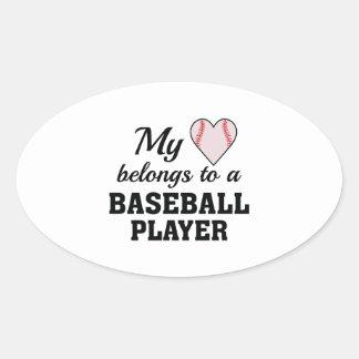 Heart Belongs Baseball Oval Sticker