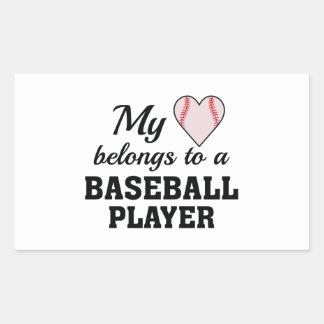 Heart Belongs Baseball Rectangular Sticker