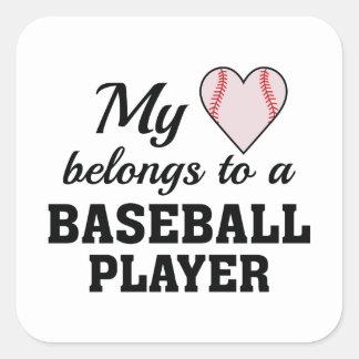 Heart Belongs Baseball Square Sticker