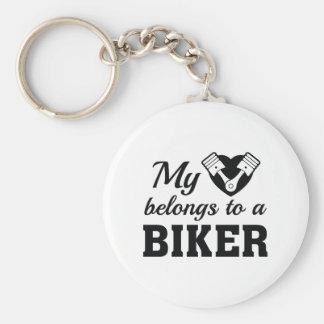 Heart Belongs Biker Keychain