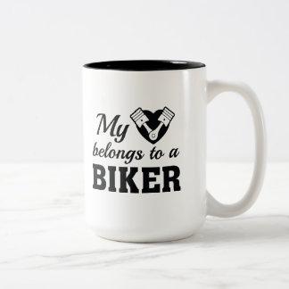 Heart Belongs Biker Two-Tone Coffee Mug