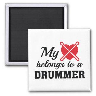 Heart Belongs Drummer 2 Inch Square Magnet