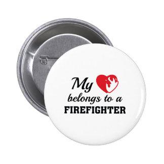 Heart Belongs Firefighter Button