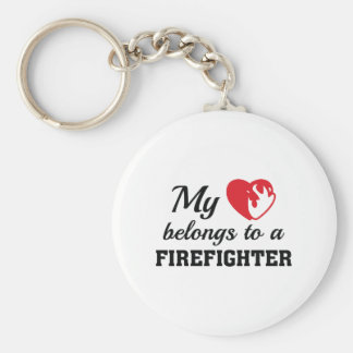Heart Belongs Firefighter Keychain