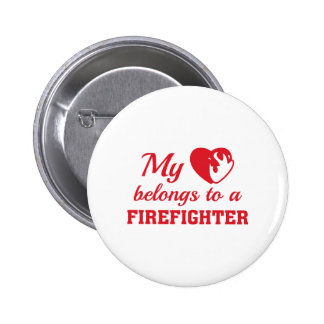 Heart Belongs Firefighter Pinback Button