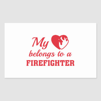 Heart Belongs Firefighter Rectangular Sticker