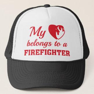 Heart Belongs Firefighter Trucker Hat