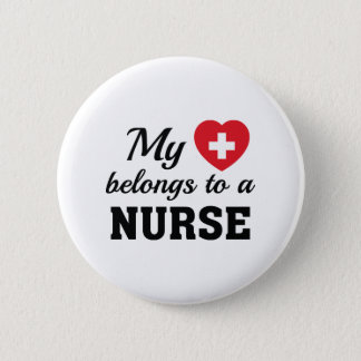 Heart Belongs Nurse Pinback Button
