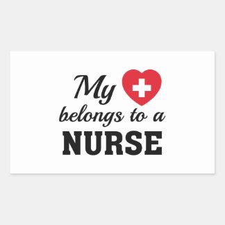 Heart Belongs Nurse Rectangular Sticker