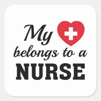 Heart Belongs Nurse Square Sticker