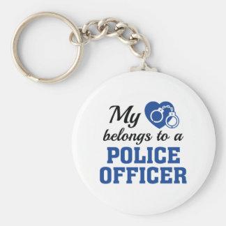 Heart Belongs Police Officer Keychain