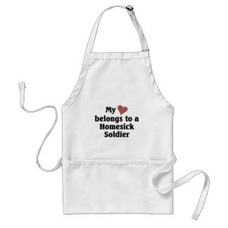 Heart belongs to a homesick soldier adult apron