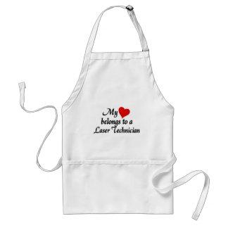 Heart belongs to a laser technician adult apron