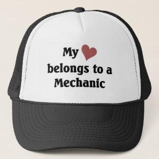 Heart belongs to a mechanic trucker hat