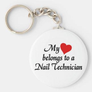 Heart belongs to a nail technician basic round button keychain