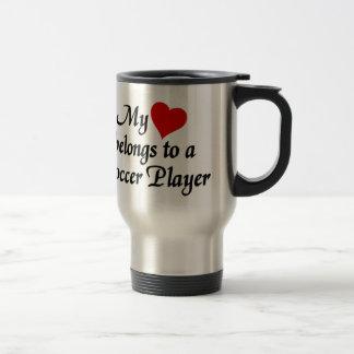 Heart belongs to a Soccer Player Travel Mug