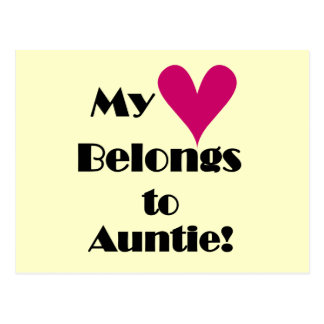 Heart Belongs to Auntie Tshirts and Gifts Postcard