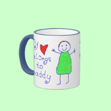 Heart Belongs To Daddy Mug - My Heart Belongs To Daddy Tea/Coffee Mug. Cute child drawing of Daddy with child writing 'my heart belongs to Daddy'. Makes lovely gift from child to Daddy. Fully customizable.