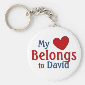 Heart belongs to david basic round button keychain