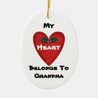 Heart Belongs To Grandma Photo Ornament