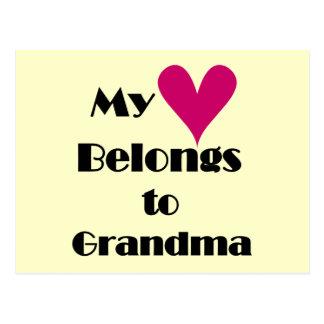 Heart Belongs to Grandma T-shirts and Gifts Postcard