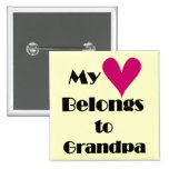 Heart Belongs to Grandpa Tshirts and Gifts Buttons
