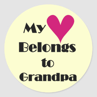 Heart Belongs to Grandpa Tshirts and Gifts Classic Round Sticker