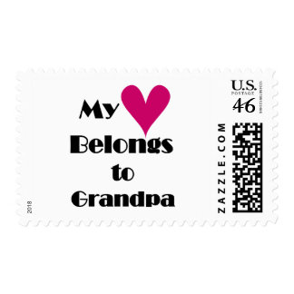 Heart Belongs to Grandpa Tshirts and Gifts Postage Stamps