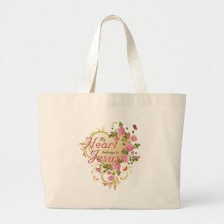 Heart belongs to Jesus Large Tote Bag