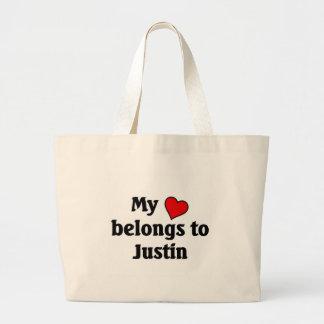 Heart belongs to Justin Large Tote Bag