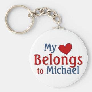 Heart belongs to Michael Keychain