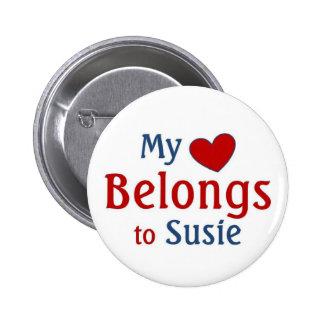 heart belongs to susie 2 inch round button