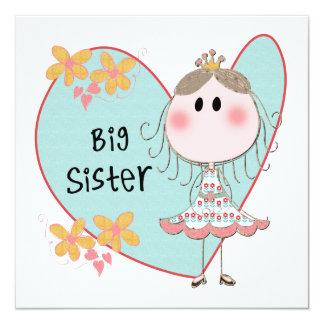 Heart Big Sister 5.25x5.25 Square Paper Invitation Card
