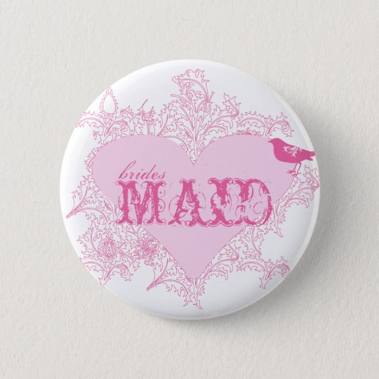 Heart & Bird Bridesmaid Button