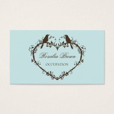 Professional Business Heart & Birds Business Card (Mint)