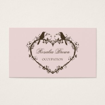 Professional Business Heart & Birds Business Card (Peach)
