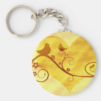 Heart birds illustration keychain