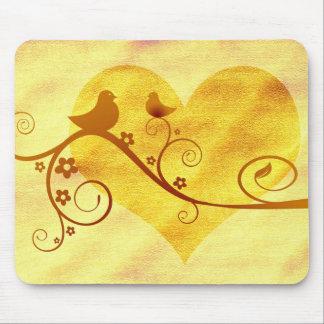 Heart birds illustration mouse pad