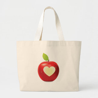 Heart bite red apple large tote bag