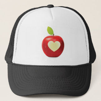 Heart bite red apple trucker hat