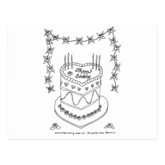 Heart Bithday Cake Line Drawing Postcard